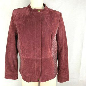 Isaac Mizrahi Live Red Maroon Leather Suede Coat